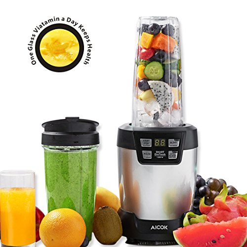 Aicok Blender, Smoothies Blender, 1200 Watt Professional Blender for Shakes & Smoothies, Personal Blender with LED Smart Touch Control, Stainless Steel 6 Blade Kitchen System 35oz Tritan Cup