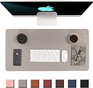 """Writing Desk Pad Protector,Non-Slip PU Leather Desk,Mouse Pad,Office Desk Mat,Laptop Desk Pad,Waterproof Desk Writing Pad for Office and Home(31.5"""" x 15.7"""") (Grey)"""