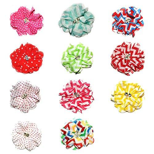 JLIKA Chiffon Beaded Flowers 2.7 Inch Diameter (10 Pieces) Assorted (Beaded Flower Patterns)