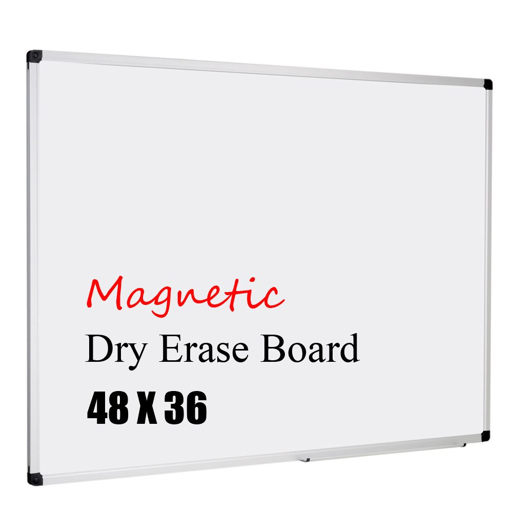XBoard Magnetic Whiteboard 48 x 36, White Board 4 x 3, Dry Erase Board with Detachable Marker Tray by XBoard
