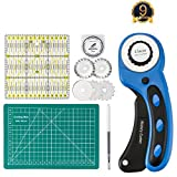 45mm Rotary Cutter with Rotary Cutter Blades 45mm(5pcs Replacements), Self-Healing Cutting Mat 22cm x 15cm, Acrylic Quilting Ruler 15cm x 15cm, ARTISTORE Perfect Set for Cutting Fabric, Paper, Leather