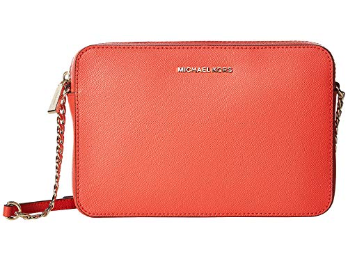 MICHAEL by Michael Kors Jet Set Travel Coral Saffiano Leather Large Crossbody Coral one size ()