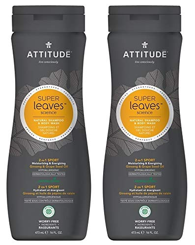 ATTITUDE Super leaves 2-in-1 Sport Shampoo & Body Wash for Men (Pack of 2) With Ginseng Extract, Grapeseed Oil, Moringa Seed Extract, 16 fl. oz. - Treatment Tonifying Body