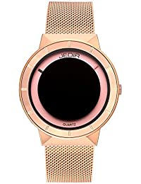 Fashion Women Wrist Watch Exquisite and Concise Analog Quartz Dial with Steel Mesh Strap (Rose Red)