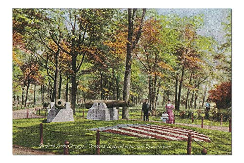 Chicago, Illinois - West Side Parks; Garfield Park View of Captured Spanish War Cannons (20x30 Premium 1000 Piece Jigsaw Puzzle, Made in USA!)