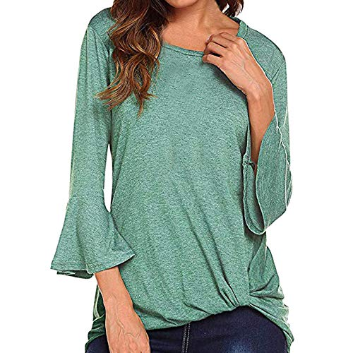 Mnyycxen Womens Casual Twist Knot Shirt 34 Bell Sleeve Tshirt Ruched Loose Fit Tie Top Ruffle Blouses