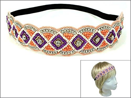 Rosemarie Collections Women's Rhinestone and Beaded Stretch Fashion Headband (Orange and Purple)