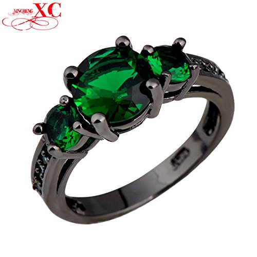 [AYT High Quality New Fashion Fine Jewelry Lady's 14KT Black Gold Filled Ring for Women Green AAA Zircon Size 6/7/8/9/10] (Affordable Costumes)