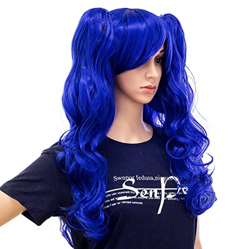 SWACC Long Curly Double Claw Clip on Ponytail Wig Synthetic Pastel Colorful Cosplay Daily Party Wig for Women and Kids with Wig Cap (Blue) -