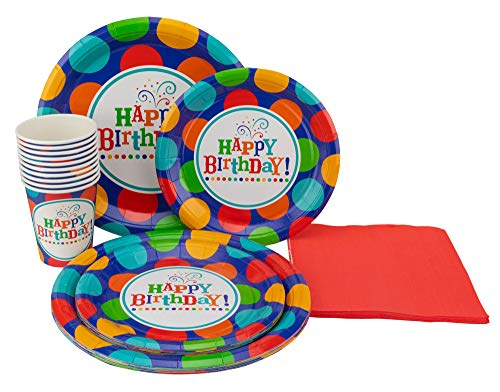 Happy Birthday Party Plates - Perfect Settings Disposable Tableware - Happy Birthday Party Plates- Dinner Set Bundles of 10 Includes Happy Birthday 9
