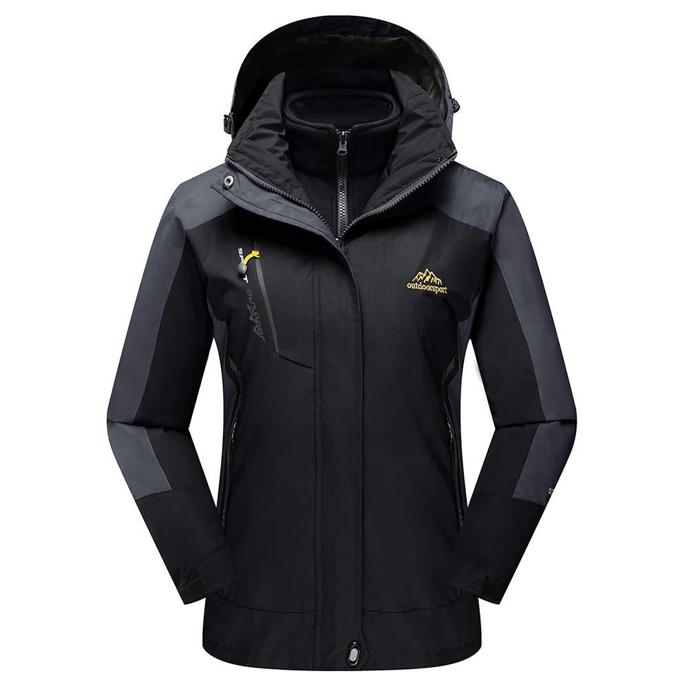 Black TACVASEN Women's Hooded 3in1 Winter Interchange Jacket Waterproof Softshell Fleece Inner Ski Coat