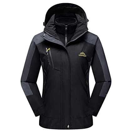 4486c61b96aab TACVASEN Women's Hooded 3-in-1 Winter Interchange Jacket Water Repellent  Softshell Fleece Inner Ski Coat