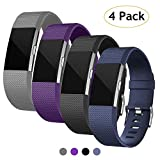 Poshei for Fitbit Charge 2 Bands (4 Pack), Classic Adjustable Replacement Sport Strap Bands for Fitbit Charge 2 Smartwatch Fitness Wristband