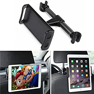 Car Headrest Mount, DLIUZ Universal Car Seat Tablet Mount Holder for iPad, Samsung Galaxy, Nintendo Switch, Fits All 4'' - 10.5'' Smartphones and Tablets (Black)