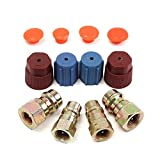 4Pcs R12 To R134a Connector Port Adapter With Caps Valves A/C 3/8 7/16