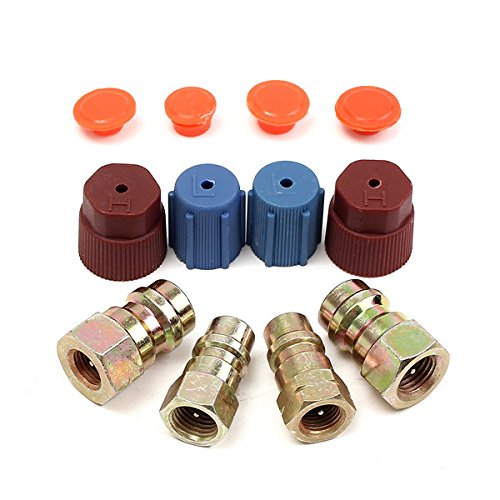 4Pcs R12 To R134a Connector Port Adapter With Caps Valves A/