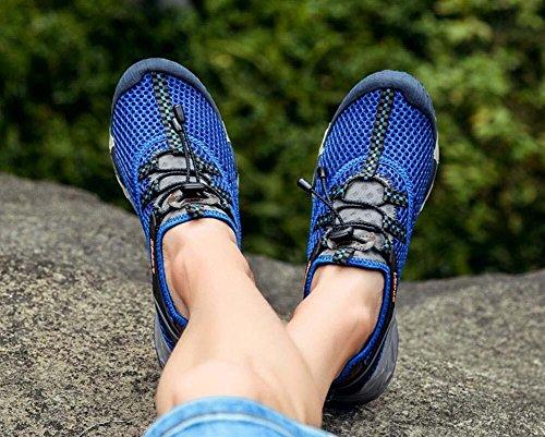 Onfly Bomba Malla Hilado de red Zapatos deportivos Zapatos casuales Hombres Respirable Color puro Halar Cordon de zapato Antideslizante Snekers Al aire libre Zapatos de escalada Zapatos de senderismo  Blue