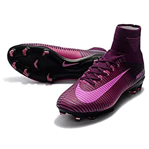 Men's High Ankle Soccer Cleats Nike Mercurial Superfly V FG Black/Purple (8 US)