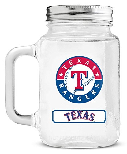 Duck House MLB Texas Rangers 20oz Glass Mason (Texas Rangers Glass)