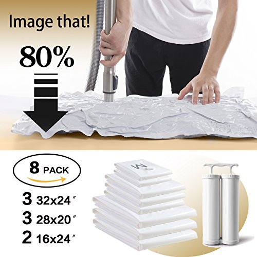 Premium 8 Pack Vacuum Storage Bags - Strong 120 Micron (40% Thicker) - 3 Large(32x24) + 3 Medium(28x20) + 2 Hand-roll (24x16) Double Zip Seal Space Saver Bags with Free Hand Double-Pump