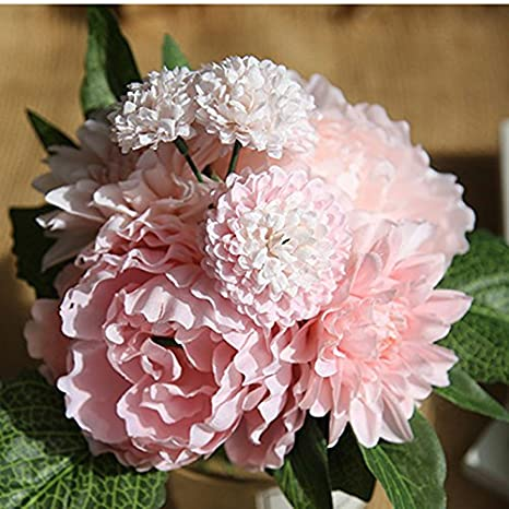 Hosaire Fleurs Artificielles De Bouquets Dahlia Peony Flower Fleur