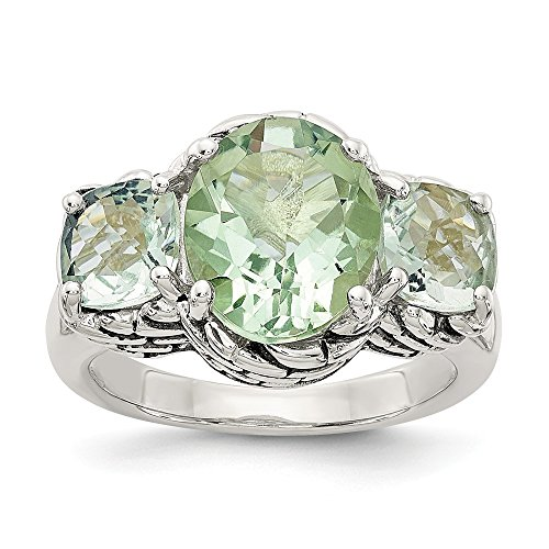 FB Jewels Solid Sterling Silver Green Quartz Ring Size -