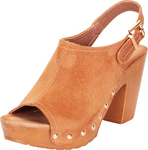Cambridge Select Women's Retro 70s Open Toe Studded Clog Chunky Platform Block Heel Sandal,8.5 B(M) US,Camel IMSU