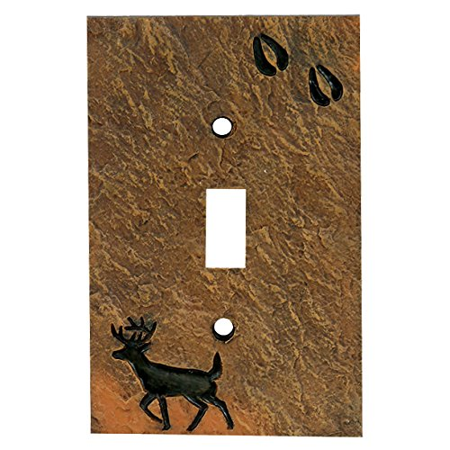 Deer Stone Finish Lodge Single Switch Plate - Cabin Decor