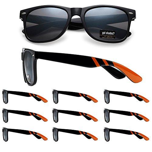 WHOLESALE RETRO BULK LOT TEAM SPIRIT STRIPED PROMOTIONAL SUNGLASSES - 10 PACK (Gloss Black | Orange Stripes | Smoke Lens, - Sunglasses For Wedding Bulk