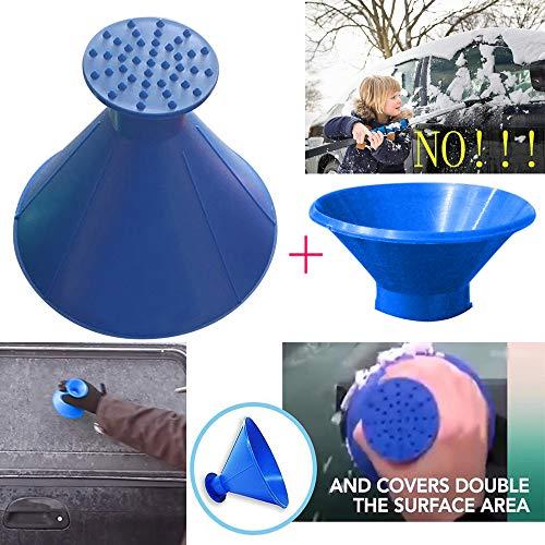 - Inverlee Scrape A Round Ice Scraper Magic Scraper Cone Car Windshield Ice Scraper Snow Removal (3Pcs-Blue)