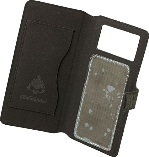 Commander book case elite m4.9 en cuir uni pour apple iPhone 6/samsung galaxy s4 i9505 noir
