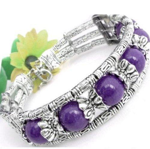 Purple amethyst beaded Tibet silver chain bracelet stretch bangle women ()
