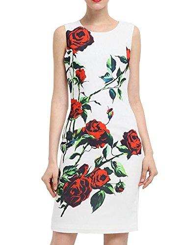 より平らな引き潮差し引くエレガンス 上品 ノースリーブ フラワー プリント 大人 二次会 女子会 結婚式 ドレス ワンピースA0151