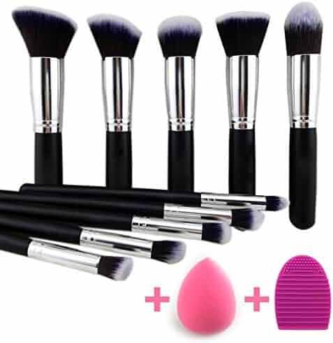 BEAKEY Makeup Brush Set Premium Synthetic Kabuki Foundation Face Powder Blush Eyeshadow Brushes Makeup Brush Kit with Blender Sponge and Brush Egg (10+2pcs,Black/Silver)