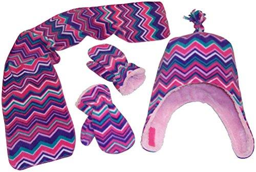 (N'Ice Caps Girls Chevron Soft Sherpa Lined Hat/Scarf/Mitten Set (2-3 Years, purple/fuchsia/pink/turq/white))