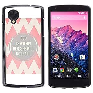 Carcasa Funda Prima Delgada SLIM Casa Case Bandera Cover Shell para LG Google Nexus 5 D820 D821 / Business Style Faith Religion Christian Quote Chevron