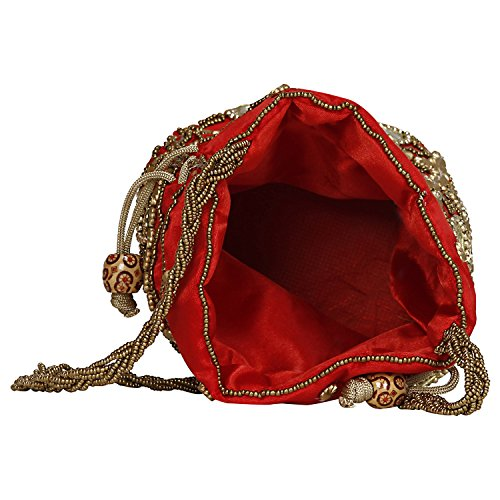 Satin for Red Girls Traditional Round Potli Bag with Women amp; Mirror 1dA7Tnx