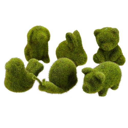SilksAreForever 2.5''-4'' Set Artificial Moss Covered Animals -Green (pack of 2)