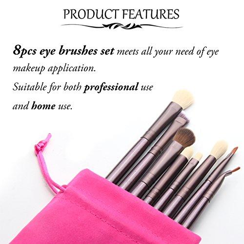 Qivange Eye Brushes, Eyeshadow Eyeliner Eye Contour Blending Cosmetics Brush Kit (8pcs Coffee Gold)
