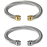 Flongo Men's Womens 2PCS Vintage Stainless Steel Twisted Cable Chain Cuff Bangle Bracelet Mothers Valentine Bracelet