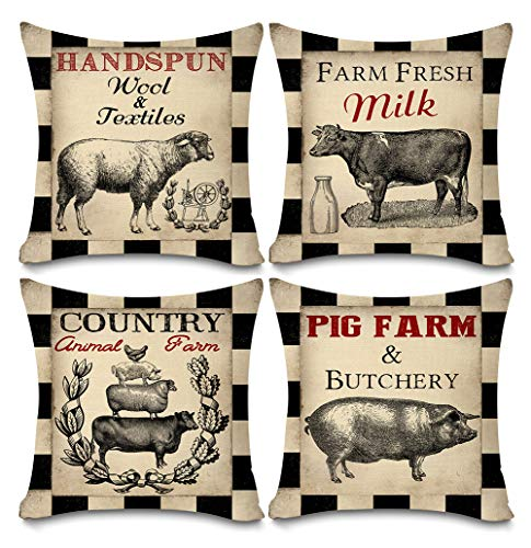 Faromily Vintage Farmhouse Animal Pillow Covers