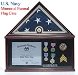 Elegant Memorial/Funeral Flag Display Case Storage Military Shadow Box, for 5'X9.5' flag folded, FC07-NAVY (with Navy Medallion)
