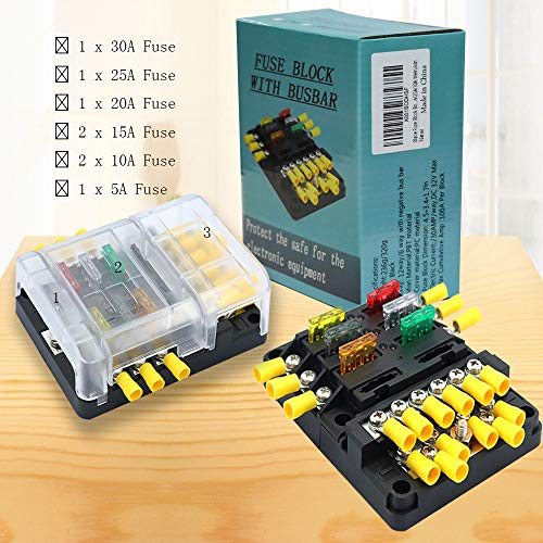 Blade Fuse Block Box Holder 6 Circuits ATP and Negative Bus Bar With LED Indicator for Blown Fuse Suitable For Automotive Marine Boats with 5A/10A/15A/20A /25A/30A Weiruixin by weiruixin (Image #5)