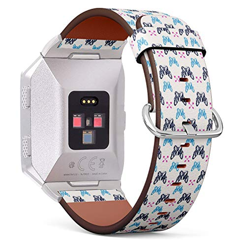 Compatible with Fitbit Ionic - Leather Watch Wrist Band Strap Bracelet with Stainless Steel Clasp and Adapters (French Bulldog) ()