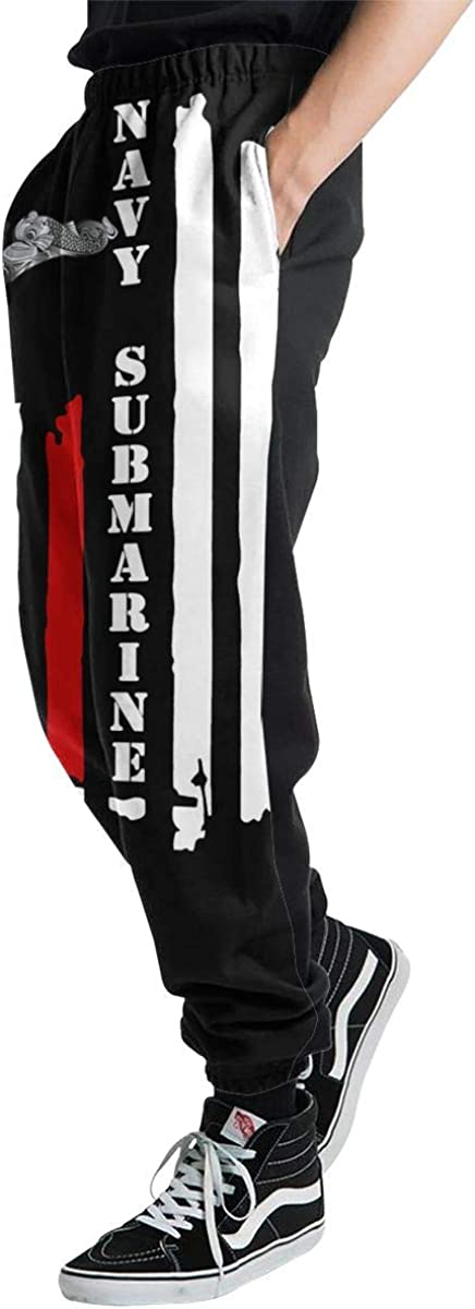 BYkyqpwk US Navy Submarine Insignia American Flag Navy Mens 3D Printing Trousers Pocket Pants Trousers Sweatpants Slacks