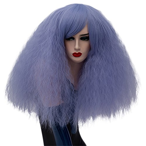 ELIM Short Fluffy Cosplay Wigs Light Blue Curly Wig Halloween Costume Wigs Synthetic Hair Oblique Bangs for Women with Wig Cap Z079J