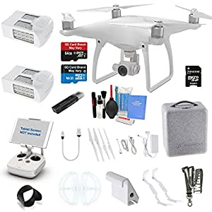DJI Phantom 4 Drone Quad Copter W/ 4K Camera Gimbal & EVERYTHING YOU CAN THINK OF KIT: 1 Extra DJI Battery, 1x 64GB Ultra High Speed SD Card, Neck Strap, Surmik® Lens Hood & More