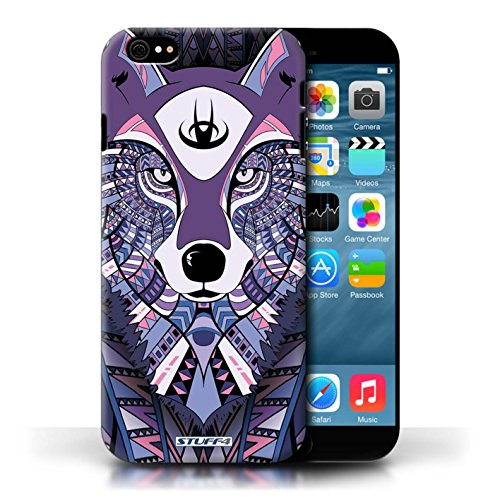 Hülle Case für Apple iPhone 6/6S / Wolf-Lila Entwurf / Aztec Tier Muster Collection
