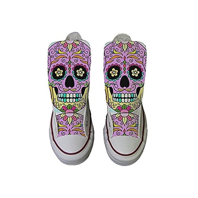 Converse Personalizzate All Star Sneaker Unisex scarpa Artigianale Coloured - Teschio