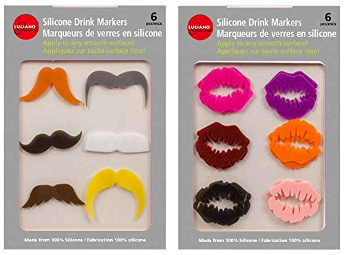 Luciano Silicone Drink Markers, 12 pcs - 6 for Him & 6 for Her